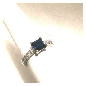 Blue Sapphire Dinner Ring Promise 8